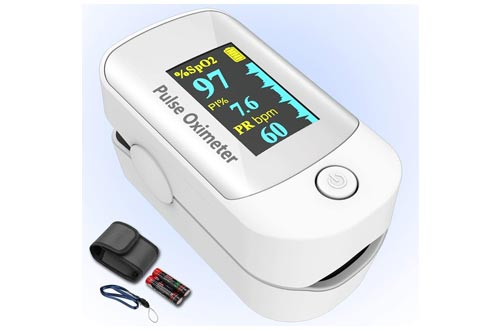 2. Pulse oximeter fingertip with Plethysmograph and Perfusion Index, Portable Blood Oxygen Saturation Monitor for Heart Rate and SpO2 Level