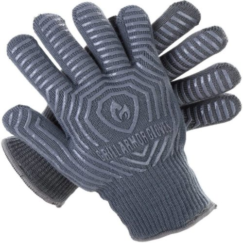 2.Grill Armor Extreme Heat Resistant Oven Gloves - EN407 Certified 500C - Cooking Gloves for BBQ, Grilling, Baking, Grey