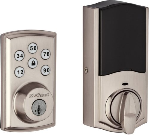2.Kwikset 98880-004 SmartCode 888 Smart Lock Touchpad Electronic Deadbolt Door Lock with Z-Wave Plus Featuring SmartKey Security in Satin Nickel