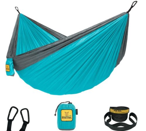 2.Wise Owl Outfitters Hammock Camping Double & Single with Tree Straps - USA Based Hammocks Brand Gear