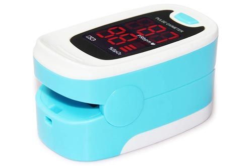 3. CONTEC CMS50M Fingertip Pulse Oximeter Blood Oxygen Saturation Monitor with lanyard blue white color - Finger Pulse Oximeters