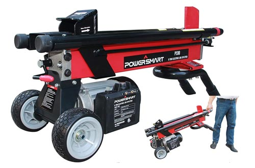 3. PowerSmart PS90 6-Ton 15 Amp Electric Log Splitter, Red, Black - Kinetic Log Splitters