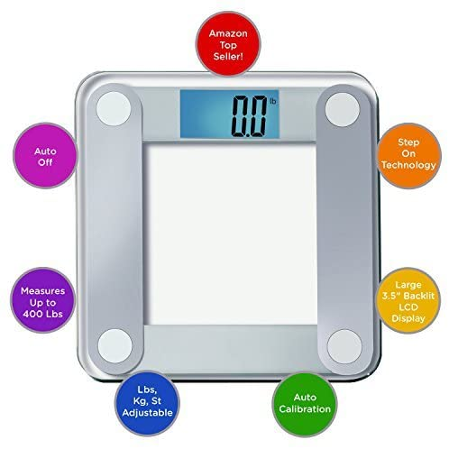 3.EatSmart Products Free Body Tape Measure Included Digital Bathroom Scale with Extra Large Lighted Display