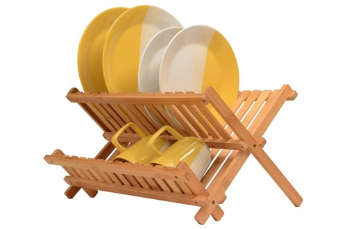 4. Bambusi Collapsible Dish Drying Rack - Bamboo Kitchen Folding Dish Rack & Plate Holder