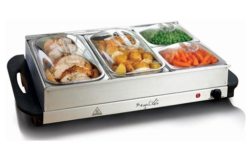 4. MegaChef MC-9003C Buffet Server & Food Warmer with 4 Sectional, Heated Warming Removable Tray Frame