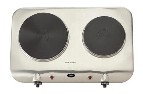 4. Oster Inspire Double Burner and Hot plate, Stainless Steel, CKSTBUDS00