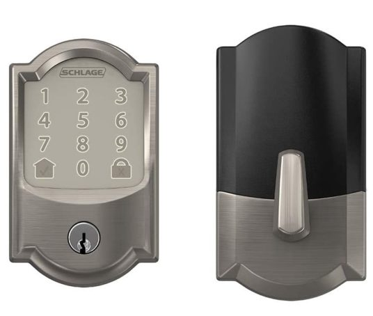 4.Schlage Encode Smart WiFi Deadbolt with Camelot Trim in Satin Nickel (BE489WB CAM 619)