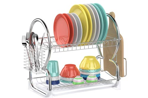 5. Dish Drying Rack, Ace Teah 2 Tier Dish Drainer with Utensil Holder Stainless Steel Dish Rack, Silver
