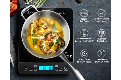 5. Duxtop Portable Induction Cooktop, Countertop Burner Induction Hot Plate with LCD Sensor Touch