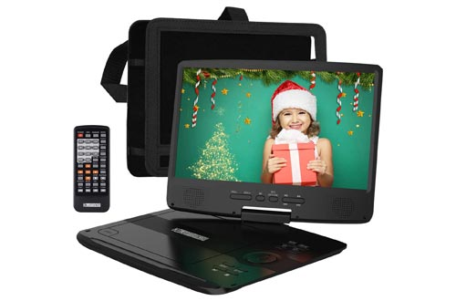 5. HD JUNTUNKOR 12.5 Portable DVD Player with 5 Hrs Rechargeable Battery, 10.1 HD Swivel Screen