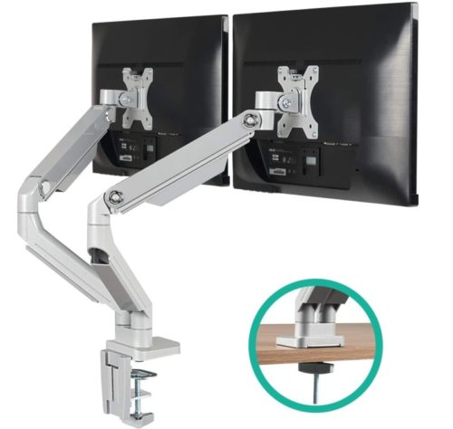 5.EleTab Dual Arm Monitor Stand - Height Adjustable Desk Monitor Mount Fits for 2 Computer Screens 17 to 32 inches - Each Arm Holds up to 17.6 lbs