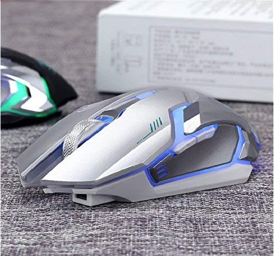 5.Wireless Gaming Mouse, VEGCOO C8 Silent Click Wireless Rechargeable Mouse with Colorful LED Lights and