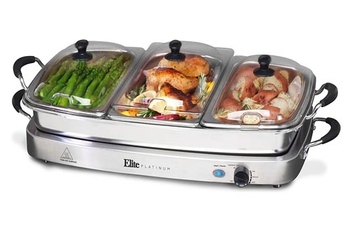 6. Elite Platinum EWM-9933 Deluxe Triple Buffet Server Food Warmer Party Tray, Oven-Safe Pan, Gravy