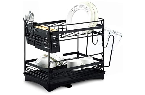 6. Glotoch Dish Drying Rack, Stainless Steel 2 Tier Dish Rack with Utensil Holder, knife holder