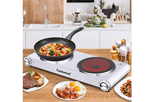 6. Techwood Electric Hot Plate Stove Countertop Double Burner Infrared Ceramic Double Cooktop