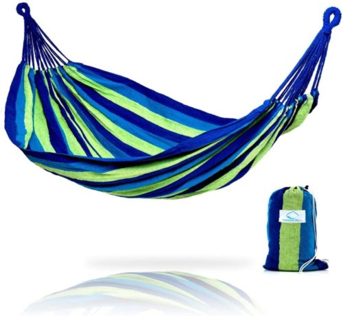 6.Hammock Sky Brazilian Double Hammock - Two Person Bed for Backyard, Porch, Outdoor and Indoor Use - Soft Woven Cotton Fabric