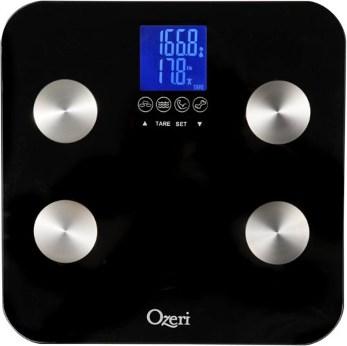 6.Ozeri Touch 440 lbs Total Body Bath Scale – Measures Weight, Fat, Muscle, Bone & Hydration with Auto Recognition