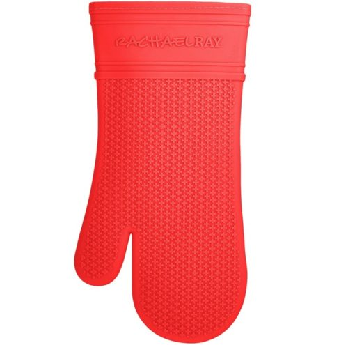 6.Rachael Ray Silicone Kitchen Oven Mitt with Quilted Cotton Liner, Red