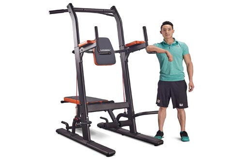 7. HARISON Multifunction Power Tower Pull Up Dip Station with Bench Home Gym Exercise Equipment, Dip Stands
