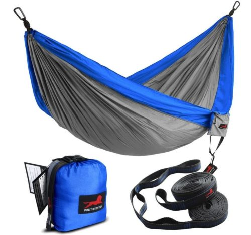 7.HONEST OUTFITTERS Double Camping Hammock with Hammock Tree Straps,Portable Parachute
