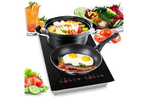 8. Dual 120V Electric Induction Cooker - 1800w Portable Digital Ceramic Countertop Double Burner
