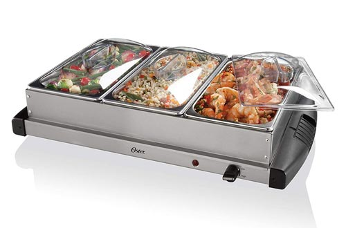 8. Oster Buffet Server Warming Tray - Triple Tray, 2.5 Quart, Stainless Steel