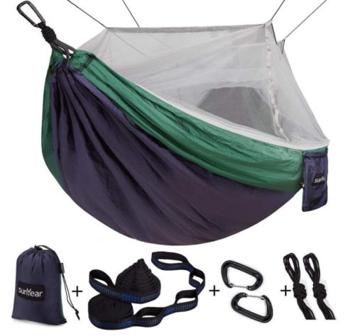 8.Single & Double Camping Hammock with MosquitoBug Net, 10ft Hammock Tree Straps and Carabiners, Easy Assembly, Portable Parachute