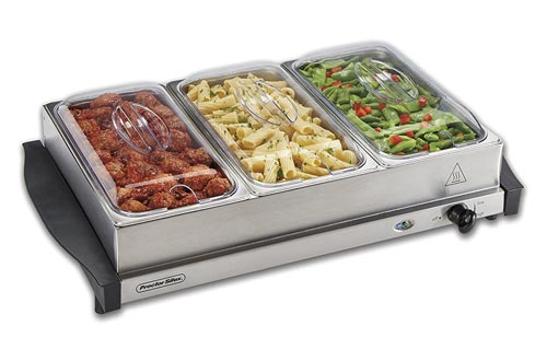 9. Proctor Silex 34300 Server & Food Buffets Food Warmer for Parties, Three 2.2 Quart Stainless Steel