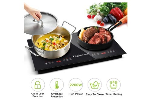 9. Trighteach Portable Induction Cooktop 2200W Electric Stove with Digital Touch Sensor and Kids Safety Lock