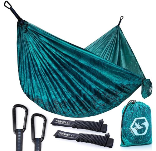9.Foxelli Camping Hammock – Lightweight Parachute Nylon Portable Hammock with Tree Ropes and Carabiners, Perfect for Outdoors