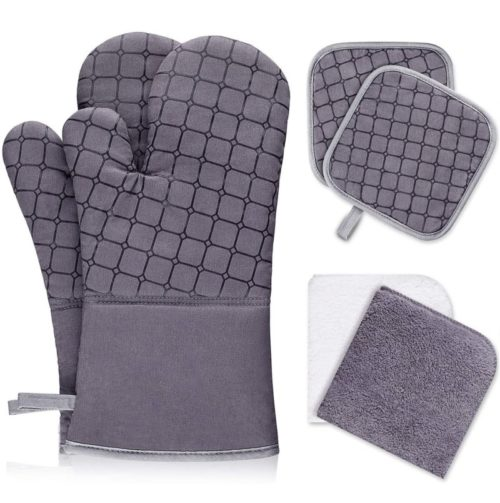 9.IXO 6Pcs Oven Mitts and Pot Holders, 500℉ Heat Resistant Oven Mitts with Kitchen Towels Soft Cotton Lining
