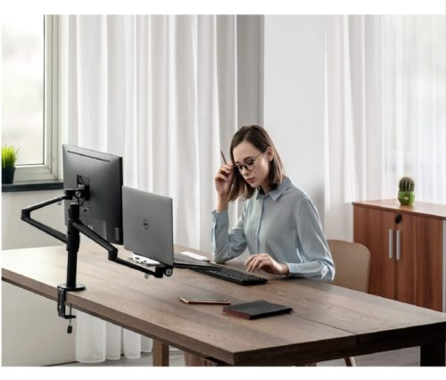 9.viozon Monitor and Laptop Mount, 2-in-1 Adjustable Dual Monitor Arm Desk Mounts,Single Desk Arm Stand