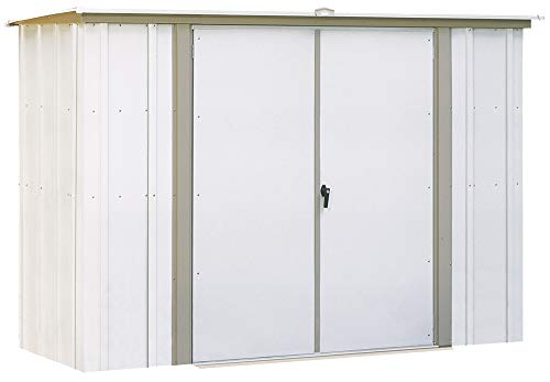 5. Eggshell with Taupe Trim Pent Roof Steel Garden Shed by Arrow