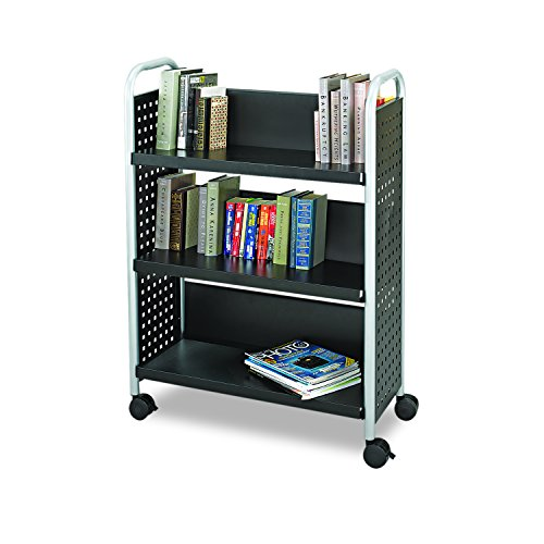 3. Single-Sided Book Cart Black by Safco