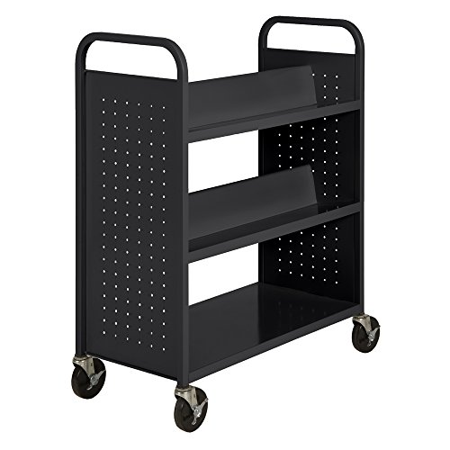2. Double Sided Sloped Shelf Welded Book Truck by Sandusky Library Cart