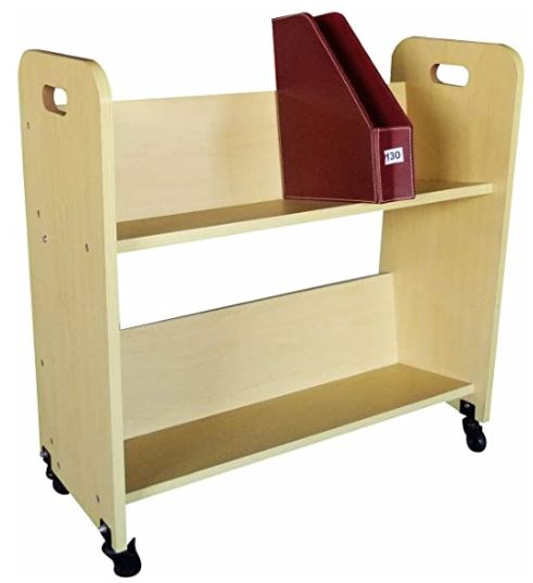 9. Wood Book Cart Library Cart by FixtureDisplays