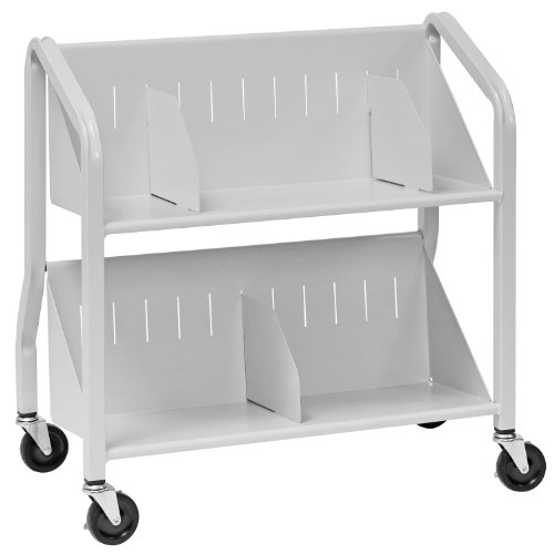 6. Two-Shelf Sloped Book Cart by Buddy Products