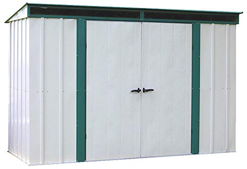 7. Green Trim and Pent Roof Steel Storage Shed by Arrow