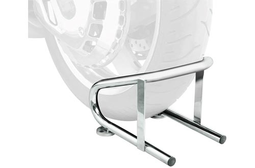 1. Raider Deluxe Chrome Wide Wheel Chock for Motorcycles