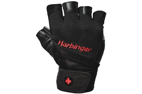 10. Harbinger Pro Wristwrap Weightlifting Gloves