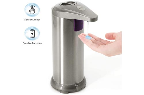 10. TROPRO Automatic Soap Dispenser Touchless, Stainless Steel Dish Liquid Hands-free Soap