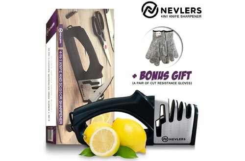 3. Nevlers 4 IN 1 Knife Sharpener - Polishes Most Knives