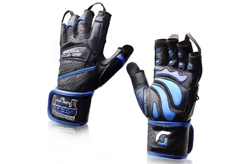 6. Elite Leather Gym Gloves with Built in Wide Wrist Wraps Best Grip
