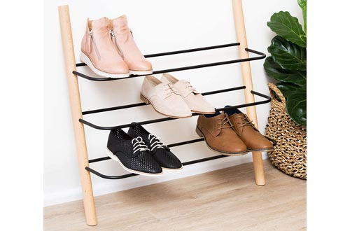 7. Wooden Shoe Rack Organizer - Modern Shoe Rack That Holds 12 Pairs of Shoes