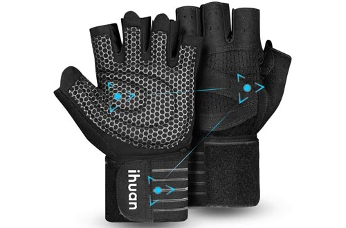 7. ihuan Weight Lifting Gym Workout Gloves with Wrist Wrap Support