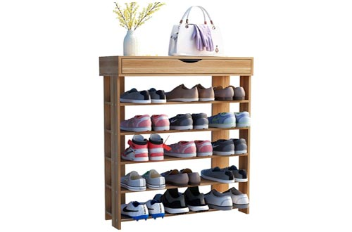 8. sogesfurniture Shoe Rack 5 Tier Free Standing Wooden Shoe Storage Organizer