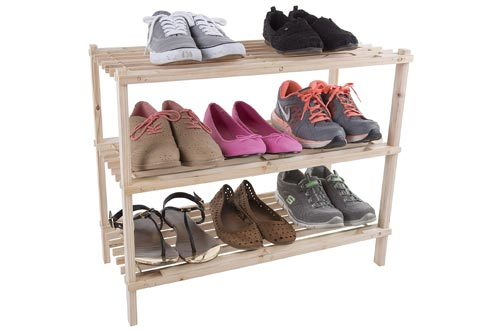 9. Lavish Home Wood Shoe Rack, 3 Tier Space Saver Shoe Rack