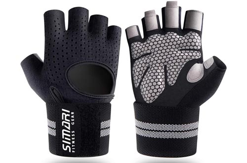9. SIMARI Workout Gloves, Training Gloves with Wrist Support for Weight Lifting Gym