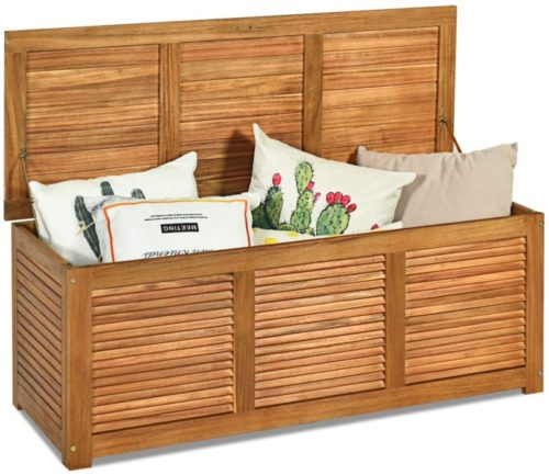 #10.  Tangkula 47-Gallon Acacia Wood Outdoor Storage Benches