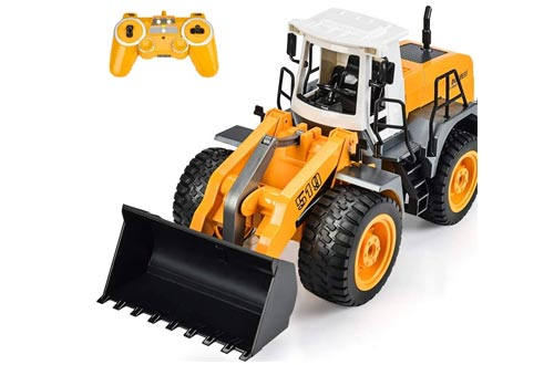 3. DOUBLE E RC Remote Control Truck, Construction Toys with Simulated Lights and Sounds
